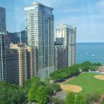 Die Aussicht vom Ann & Robert H. Lurie Children's Hospital of Chicago auf den Lake Michigan